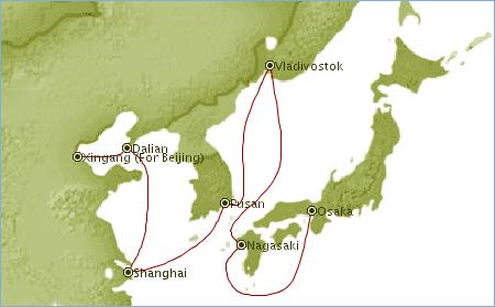 Map of cruise to japan and China. Cruise review Sapphire Princess in Asia