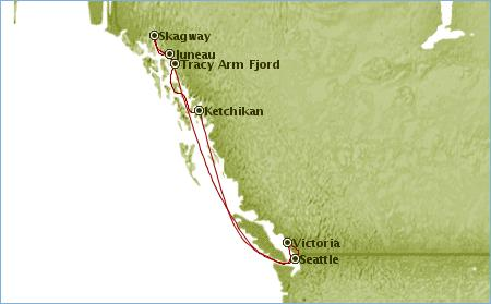 Itinerary - Alaska Cruise - Star Princess- Map showing ports of call and route to our destinations.