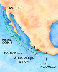 picture of map of cruise to Mexico
