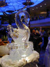 Beatifull swan ice sculpture on Celebrity's Millennium cruise ship at the Grand Buffet